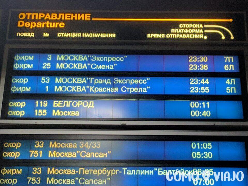 Trenes escritos en ruso