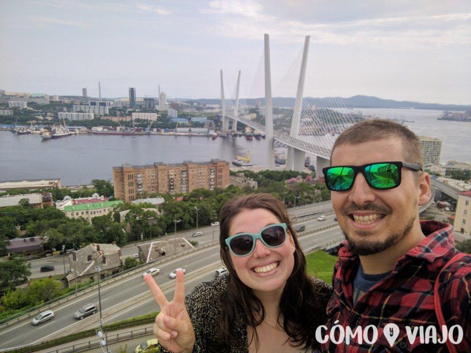 Vista del puerto de Vladivostok desde el mirador