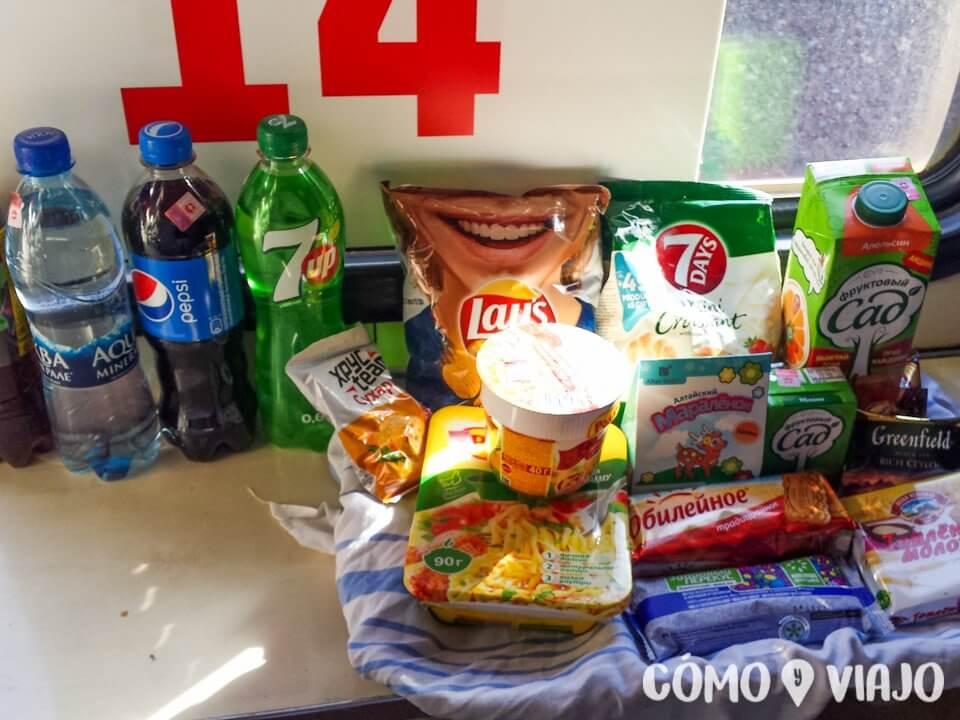 Comida disponible para comprar en el tren