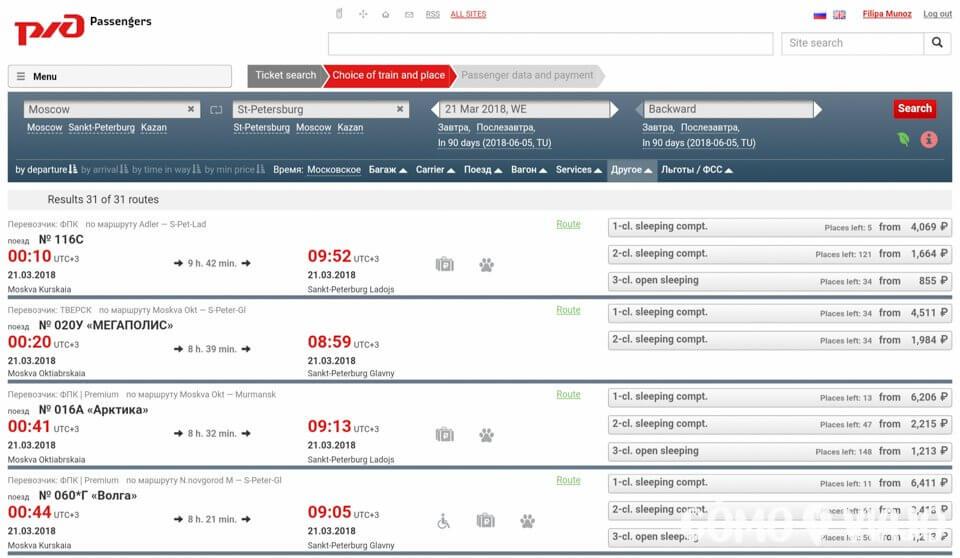 Trenes, clases y precios disponibles en compra de billetes por internet