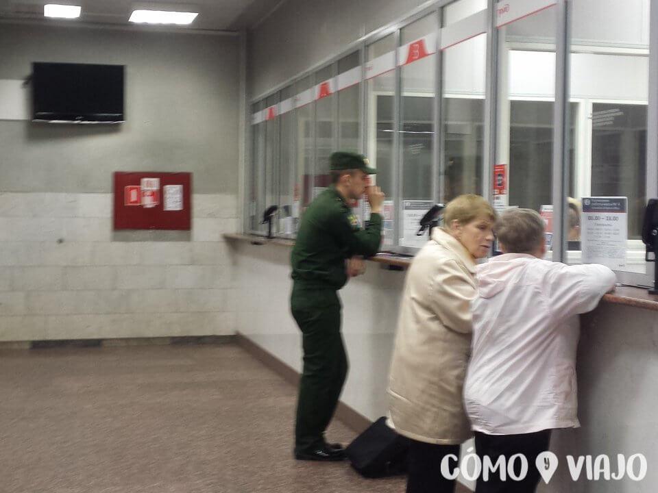 Oficina de ventas de billetes de tren en Rusia