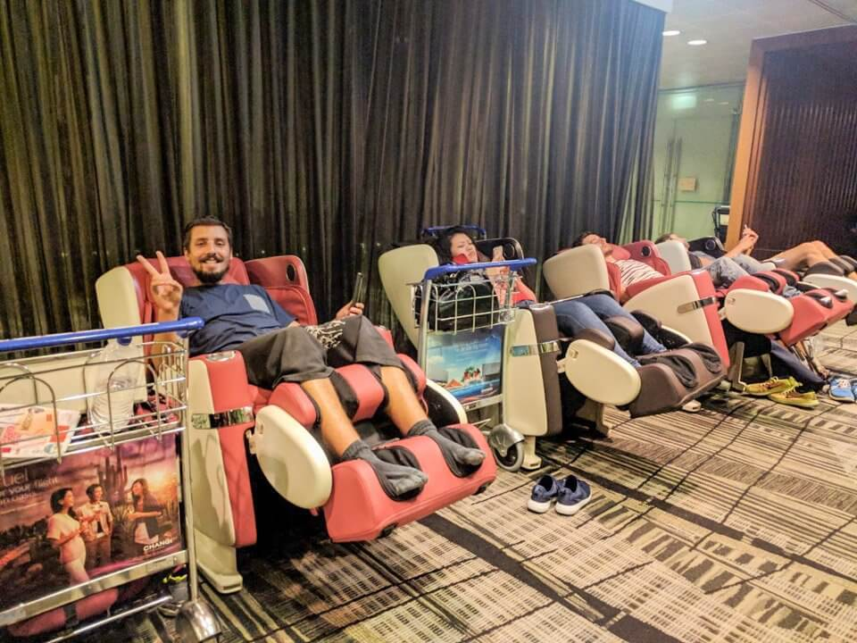 Descansando en el aeropuerto de Singapur