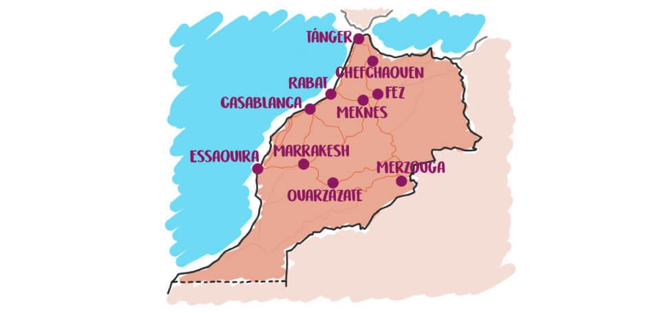 Mapa de los destinos en Marruecos para visitar