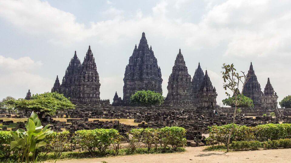 Vista de Prambanan en Yogyakarta