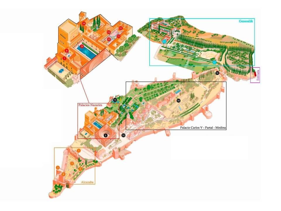 Mapa para visitar la Alhambra